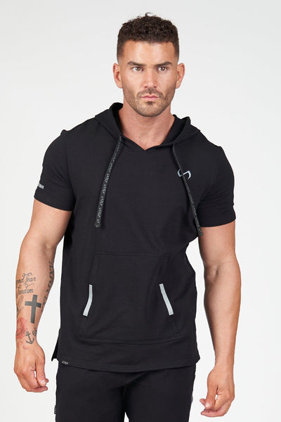 TLF Apparel - Air-Flex Short Sleeve Gym Hoodie - MEN HOODIES-SWEATSHIRTS & JACKETS - Black / SBlack / MBlack / LBlack / XLBlack / 2XL