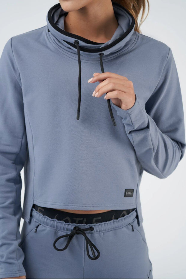 TLF All-Day Ease Cropped Pullover Sweatshirt - Titanium