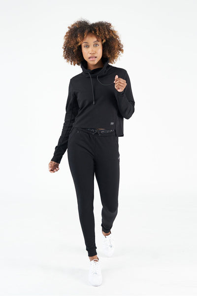 TLF All-Day Ease Cropped Pullover Sweatshirt - Black