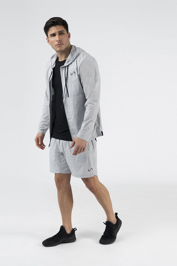 TLF Camo Zip-Up Gym Hoodie - Silver