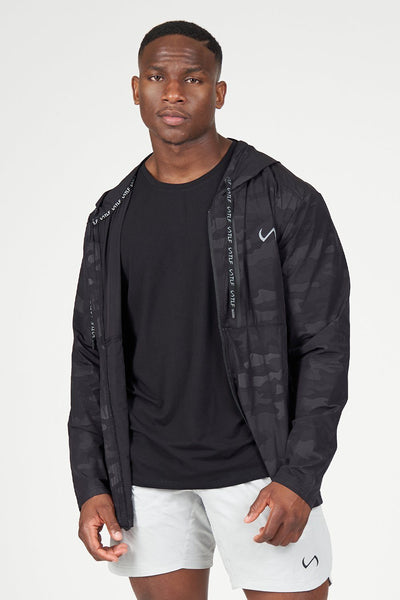 TLF Camo Zip-Up Gym Hoodie - Black