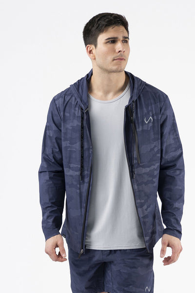 TLF Camo Zip-Up Gym Hoodie - Navy