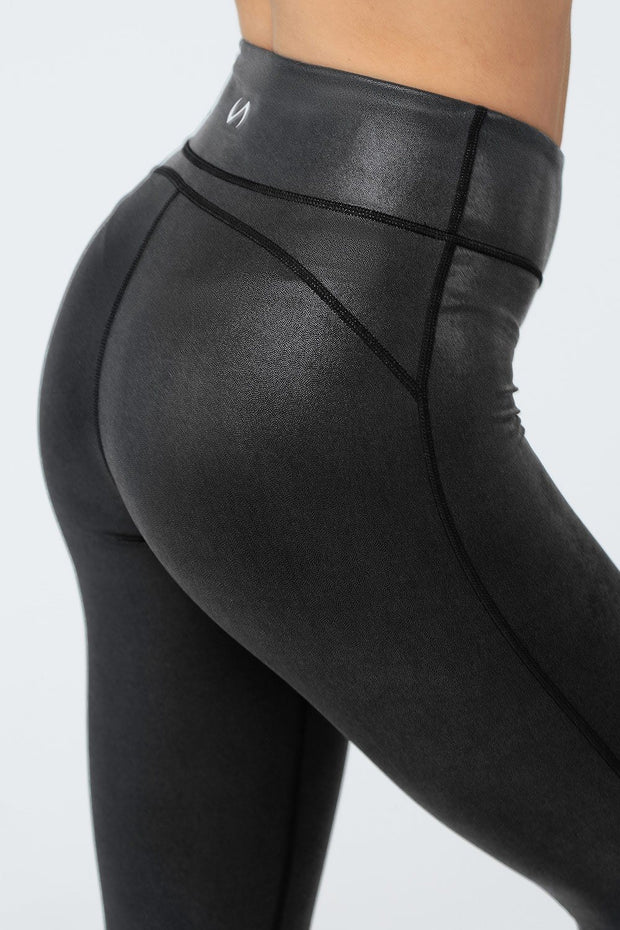 TLF Diamond High-Waisted Workout Leggings - Black Chrome