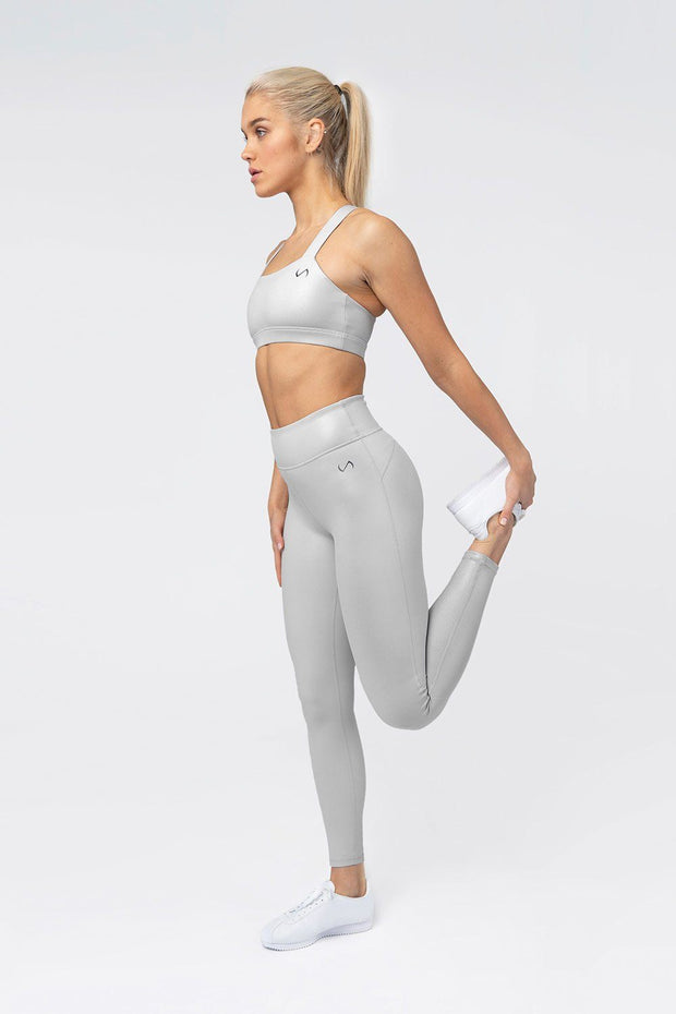 TLF Diamond High-Waisted Workout Leggings - Silver Chrome