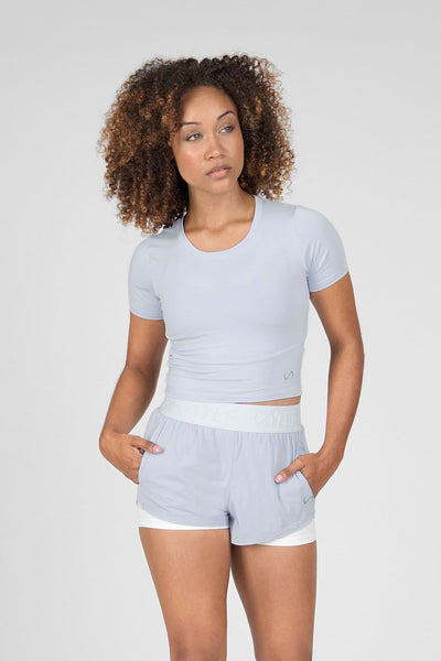 TLF Apparel - Emerge Short Sleeve Crop Top - WOMEN CROP TOPS - Blue Heather / XSBlue Heather / SBlue Heather / MBlue Heather / LBlue Heather / XL