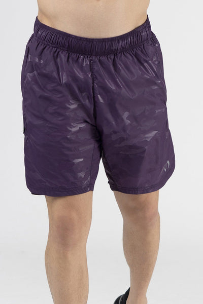 TLF Gym-To-Street Camo Workout Shorts - Regal Purple