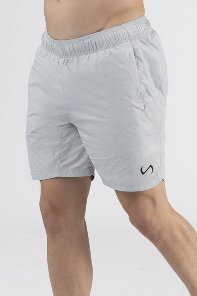 TLF Gym-To-Street Camo Workout Shorts - Silver