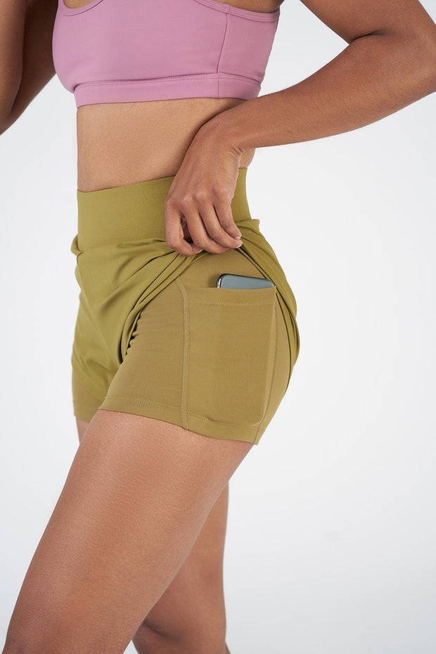 TLF Revive High-Waisted 2-In-1 Workout Shorts - Lizard