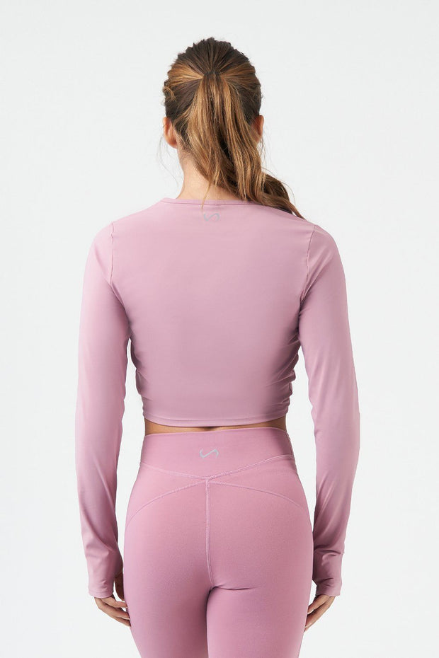 TLF Revive Long Sleeve Crop Top - Dusky Orchid