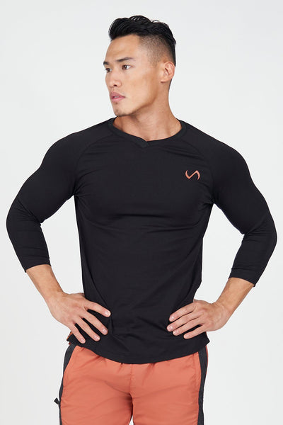 TLF Apparel - Surge ¾ Sleeve Training T-Shirt - MEN LONG SLEEVES - Black / SBlack / MBlack / LBlack / XLBlack / 2XL