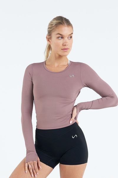 TLF Apparel - Tempo Infi-Dry Long Sleeve Crop Top - WOMEN LONG SLEEVES - Desert Taupe / XSDesert Taupe / SDesert Taupe / MDesert Taupe / LDesert Taupe / XL