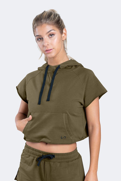 TLF Apparel - Collegiate Crop Hoodie - WOMEN HOODIES-SWEATSHIRTS & JACKETS - Military / XSMilitary / SMilitary / MMilitary / LMilitary / XL