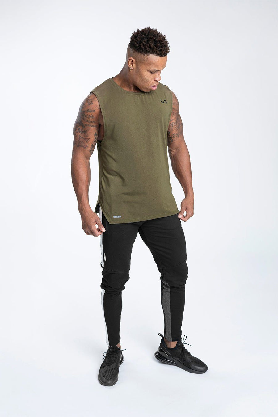 TLF Racer Drop Armhole Workout Tank - Military