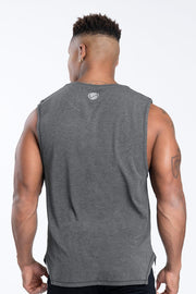 TLF Racer Drop Armhole Workout Tank - Dk Charcoal Heather