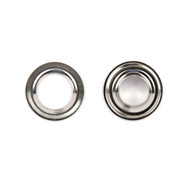 two halves of a grommet side by side top view