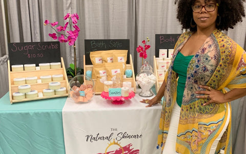 Owner of The Natural Skincare Queen, Takiela Langley, attending her booth at the Charleston Natural Hair Expo in Charleston, SC.