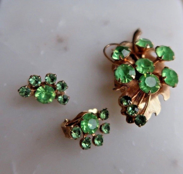 Green Rhinestone and Gold Leaf Brooch with Cluster Rhinestone Clip-on Earrings