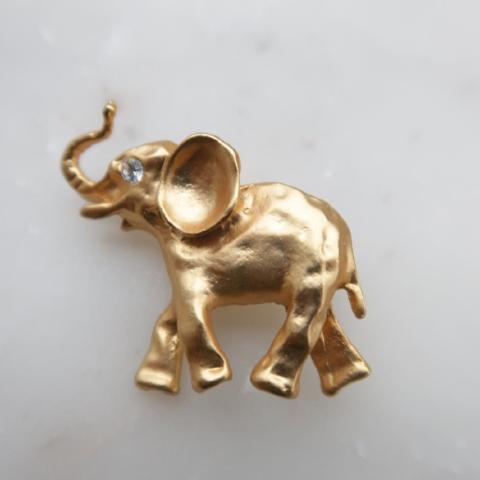 Elephant Brooch Matte Gold-tone with Rhinestone Eyes