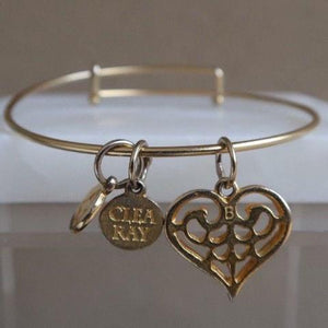 Clea Ray Expandable Scroll Heart Charm Bracelet Gold-dipped