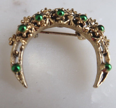 Vintage Green Beaded Goldtone Crescent Brooch