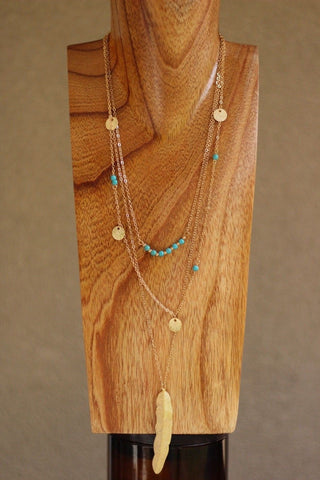 Bohemian Layered Feather and Coins Necklace