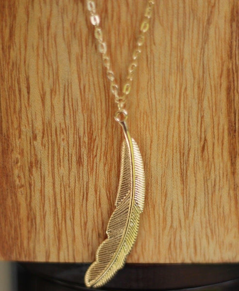 Bohemian Layered Feather and Bead Necklace