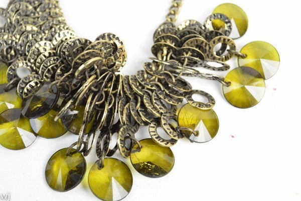 Etched Metal Runway Necklace with Green Acrylic Gems