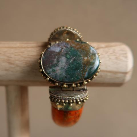 Indian Green Moss Agate and Bone Bangle