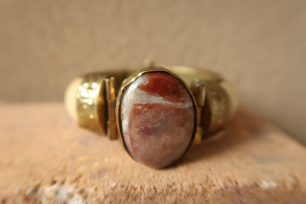 Embossed Red Agate Bone Bangle