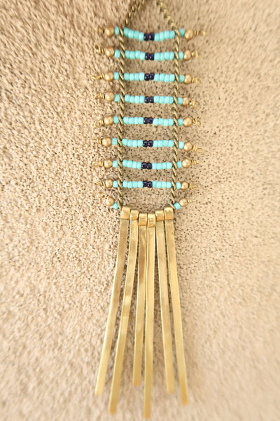 Bohemian Seed Bead and Goldtone Metal Tassel Earrings