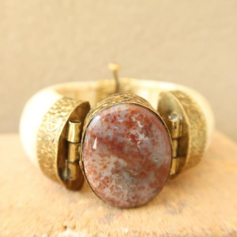 Ivory-White Bone and Red Speckled Agate Bangle