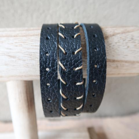 Black Leather Biker Cuff Bracelet with Contrast Threading