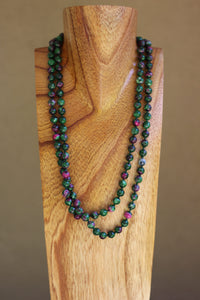 Green and Purple Agate Stone Bead Necklace
