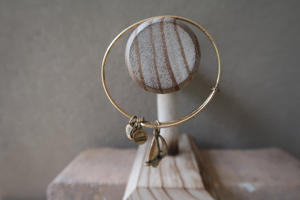 Alex and Ani Sailboat Charm Bangle Bracelet in Antique Rafaelian Gold