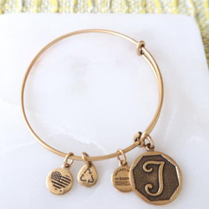 Alex and Ani Initial Charm Gold Expandable Bracelet Bangle
