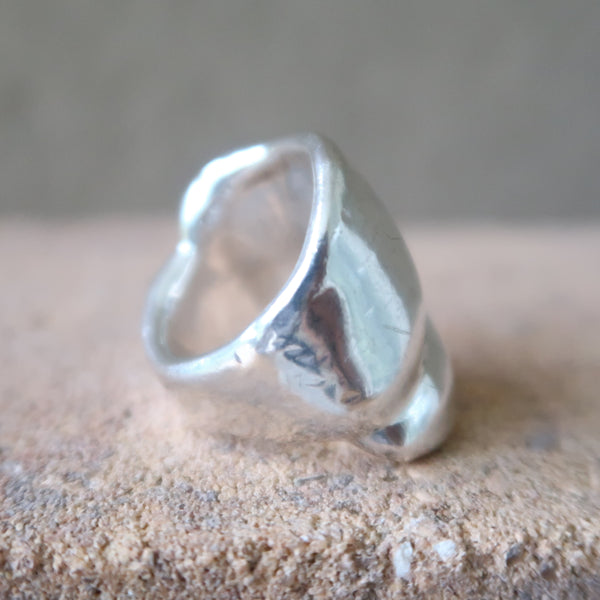 Bold Layered Sterling Silver Ring Sz 6