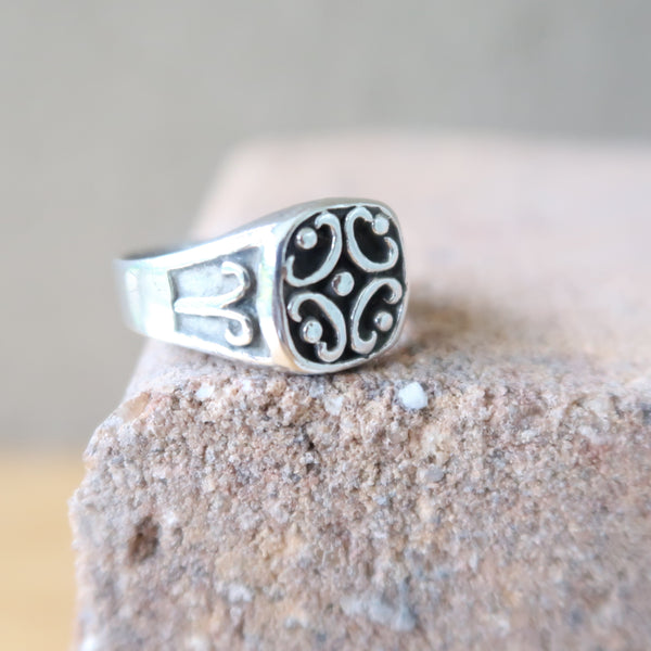 Aries Signet Sterling Silver Ring Sz 8.5