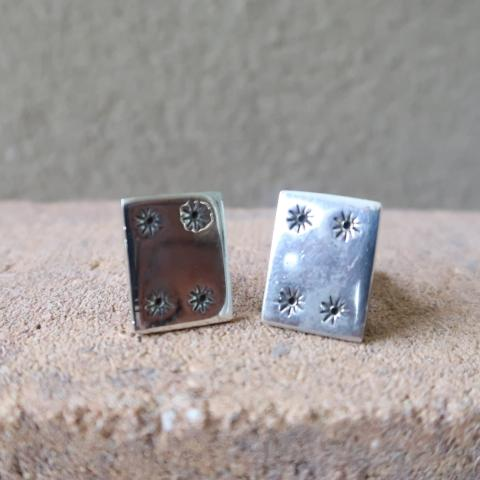 Sterling Silver Rectangle Star Cufflinks 925