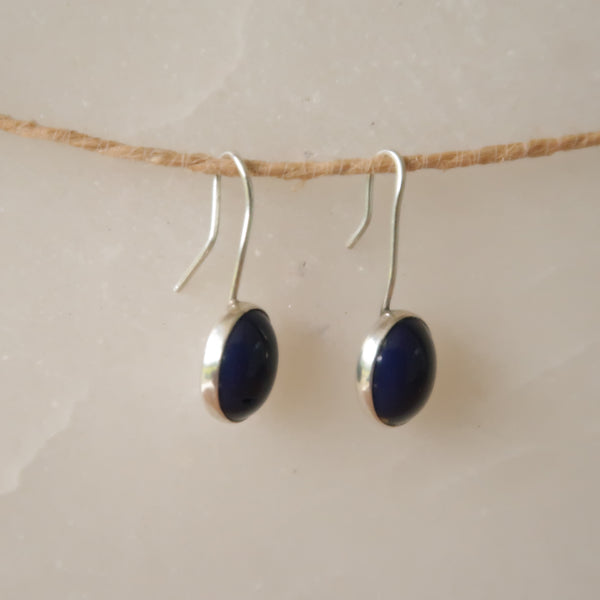 Blue Lapis Lazuli Sterling Silver 925 Dangle Earrings