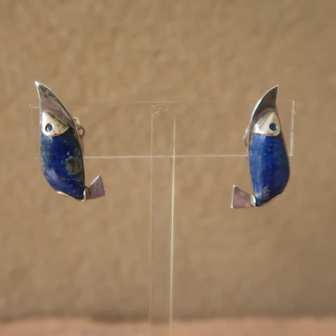 Artisan Lapis Sterling Silver Fish Clip On Earrings Rare