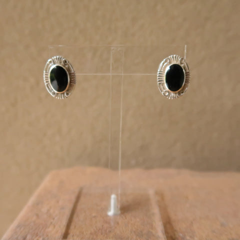 Geometric Border Onyx Sterling Silver 925 Earrings