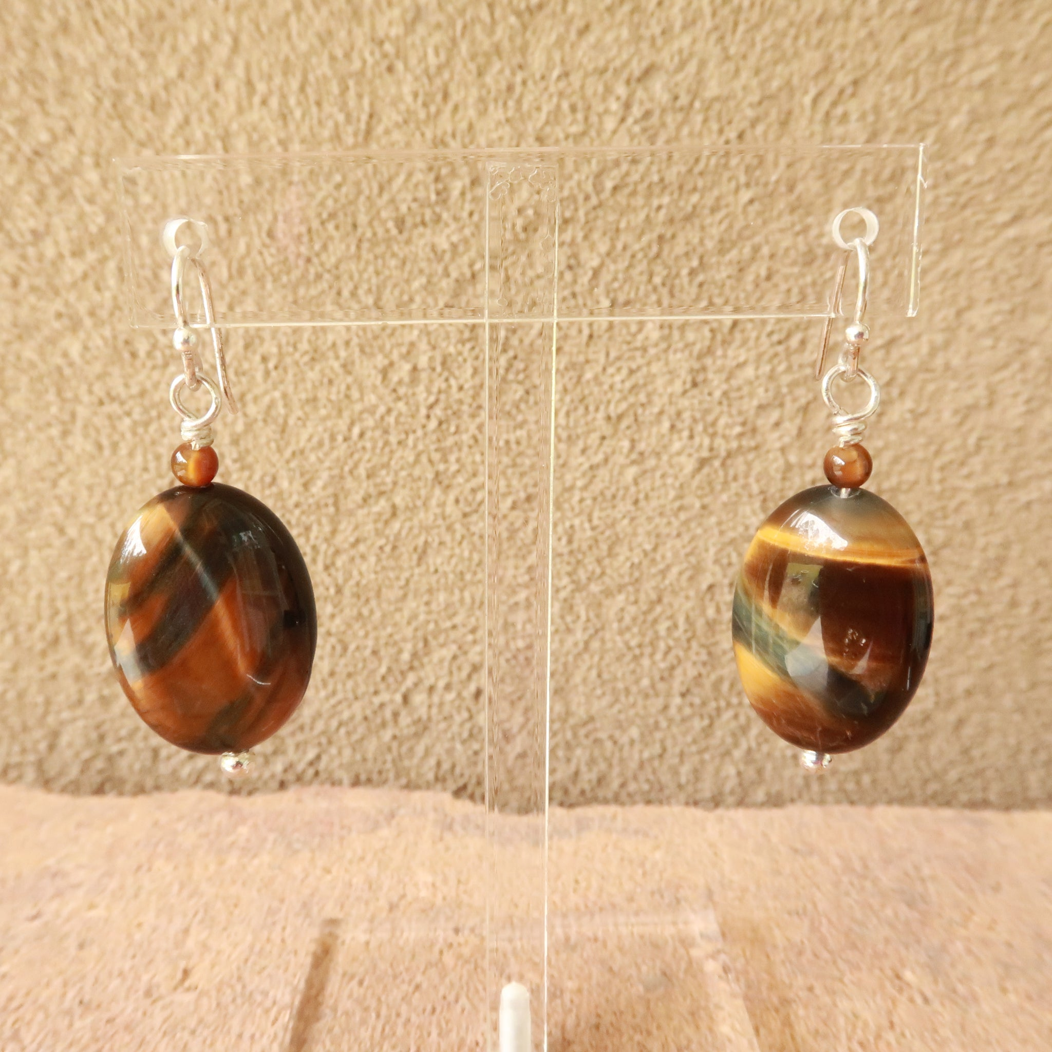 Tiger Eye Sterling Silver Dangle Drop Earrings