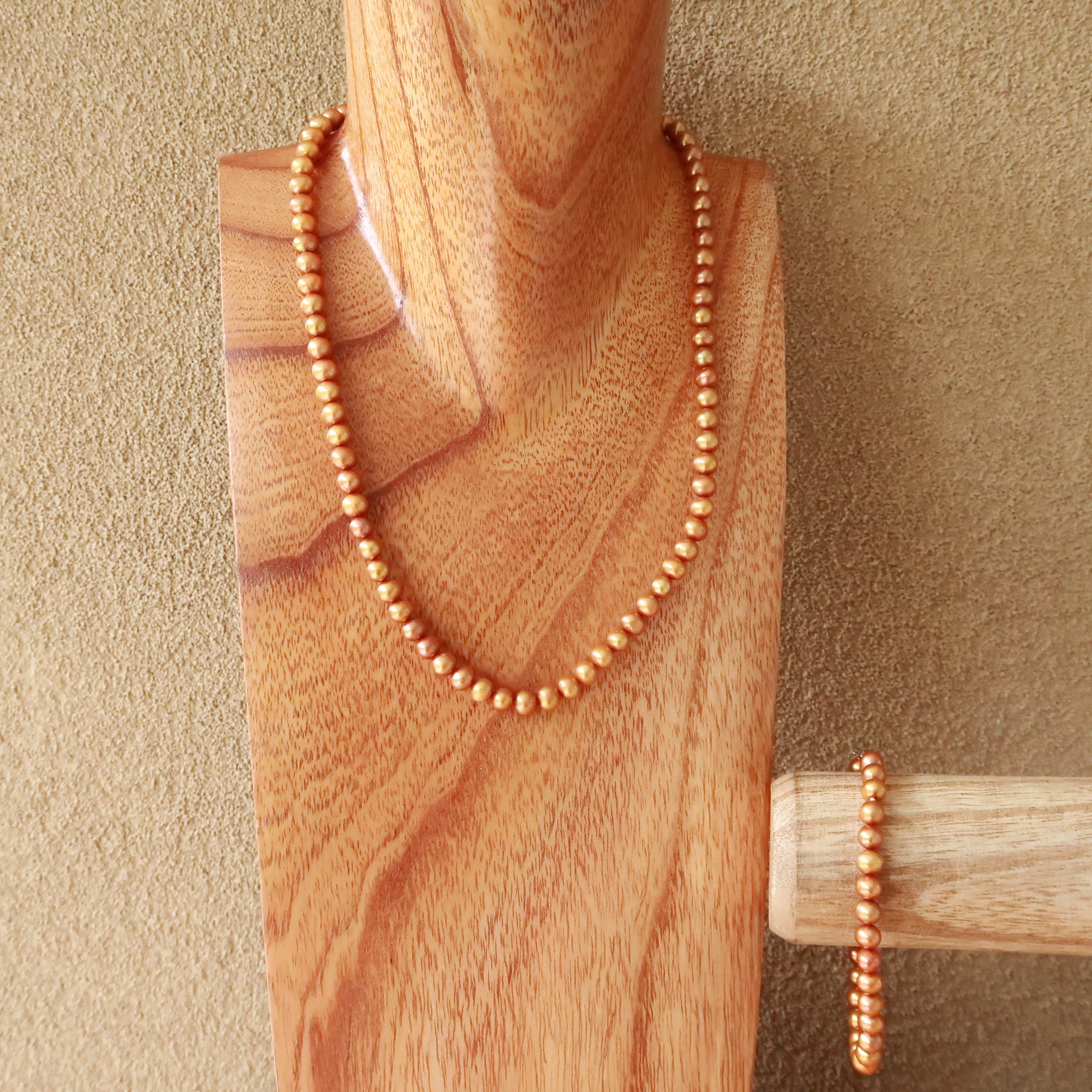 Bronze Pearl Necklace Bracelet Set