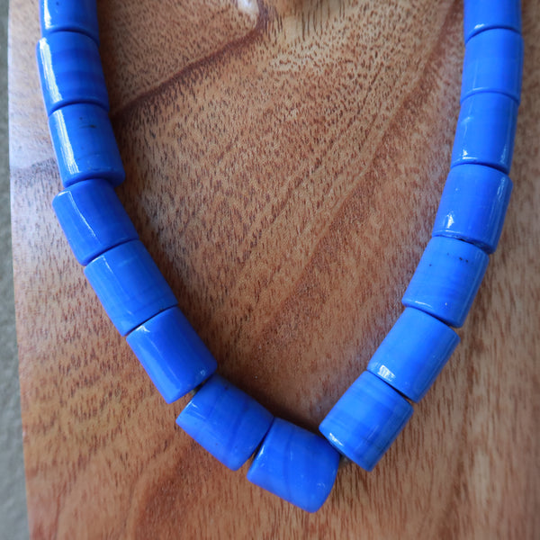 Blue Barrel Bead Indian One Pice Coin Necklace