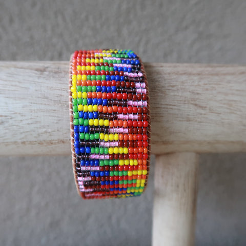Rainbow Seed Bead Leather Cuff Bracelet