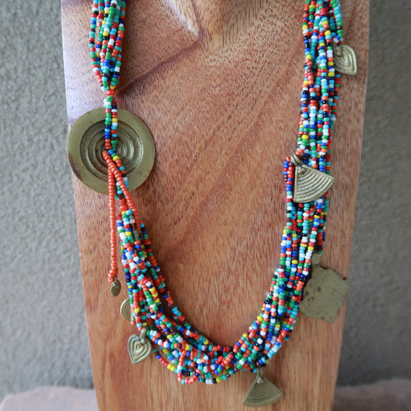 Multi Strand Seed Bead Metal Pendants Necklace