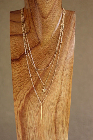 Layered Starfish and Gold Bar Necklace
