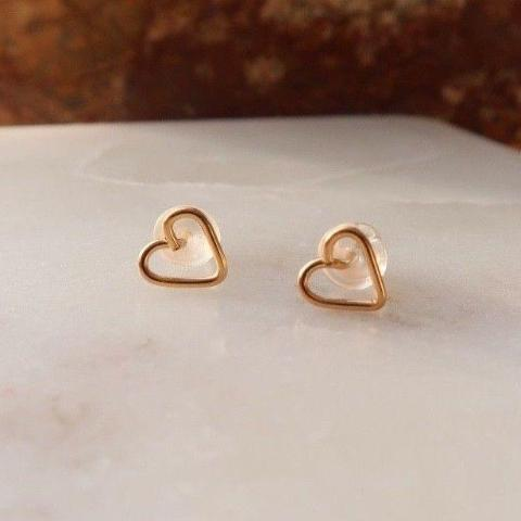 Mini Heart Stud Earrings 14k Gold Filled