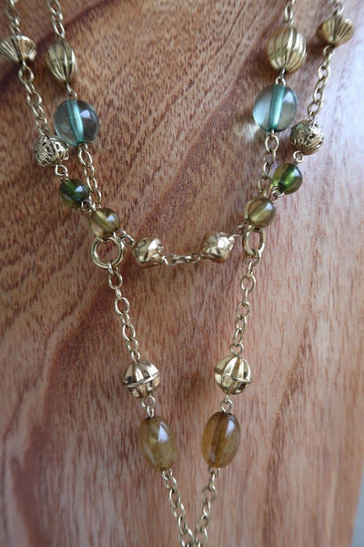 Millefiore Tasseled Opera Necklace Gold, Yellow, Green Beads