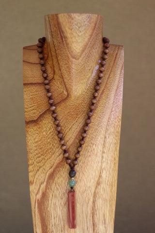 Red Aventurine Quartz and Wood Necklace